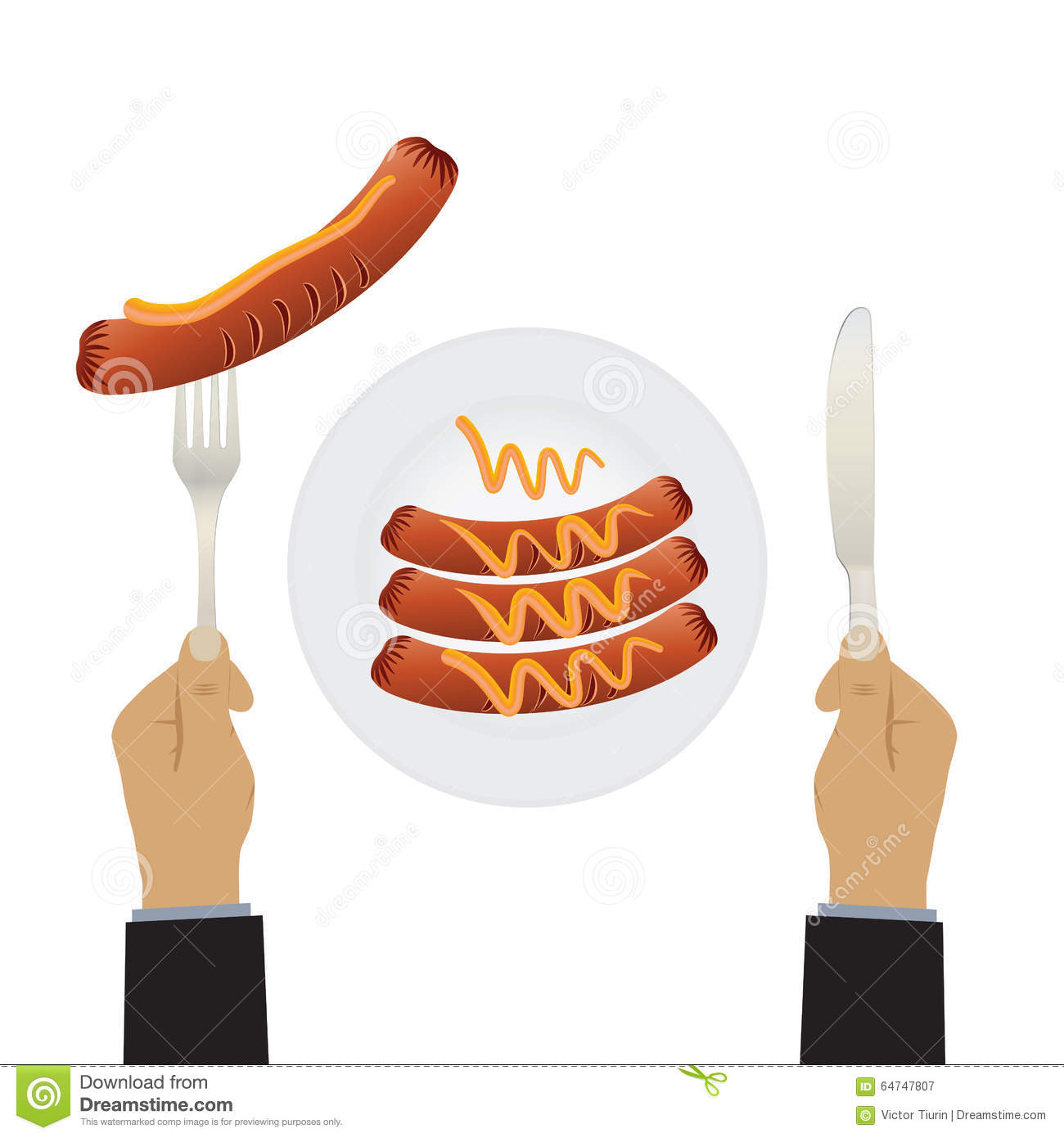 Hand with a knife and sausages on a plate.