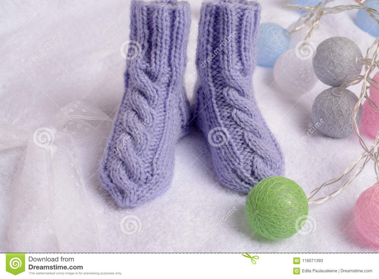 e7ecc7eb29a5 Purple Handmade Woolen Newborn Socks Stock Image - Image of made ...