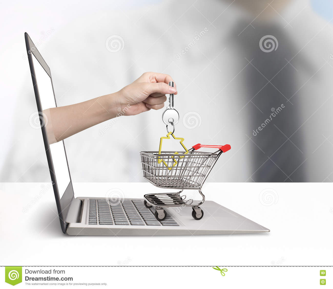 Download Hand From Laptop Screen Taking House Key In Shopping Cart Stock Image - Image of real, exterior: 78917883