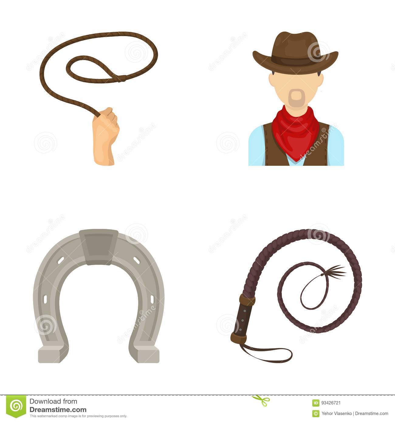 Hand lasso, cowboy, horseshoe, whip. Rodeo set collection icons in cartoon style vector symbol stock illustration web.