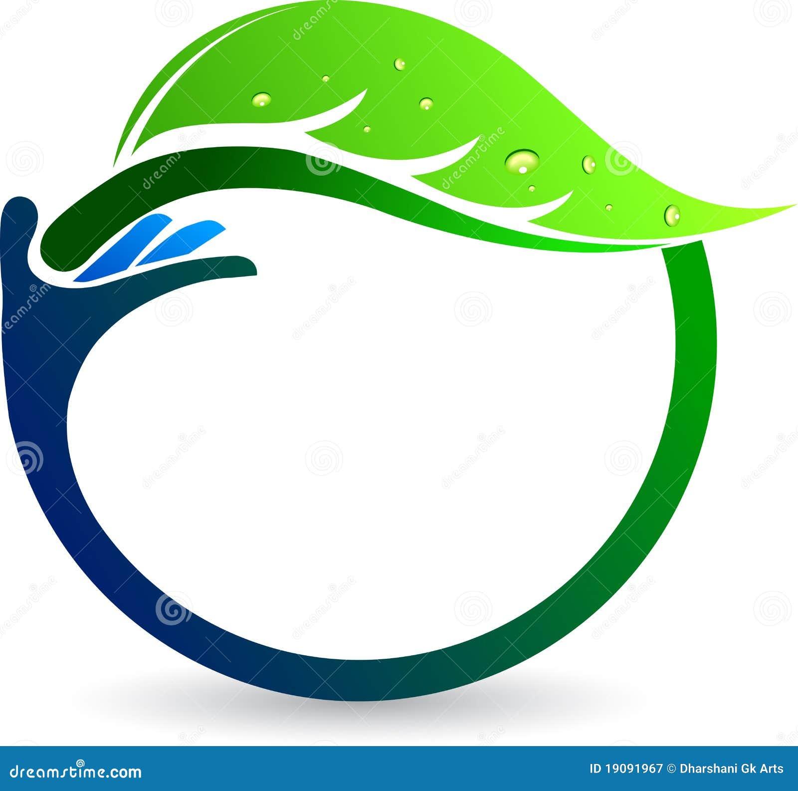 Hand Leaf Logo Royalty Free Stock Photography Image