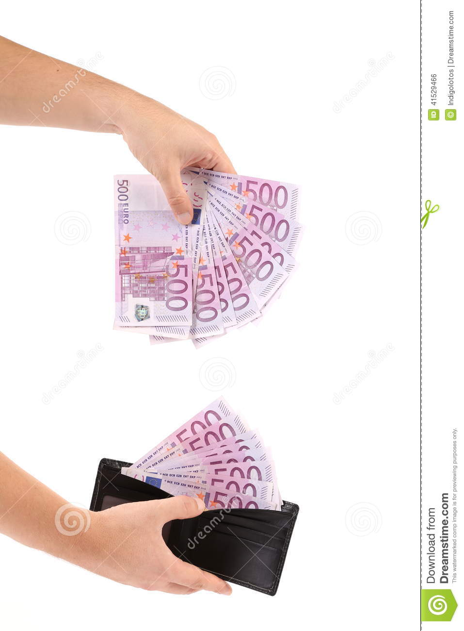 Hand with leather wallet and euro banknotes.
