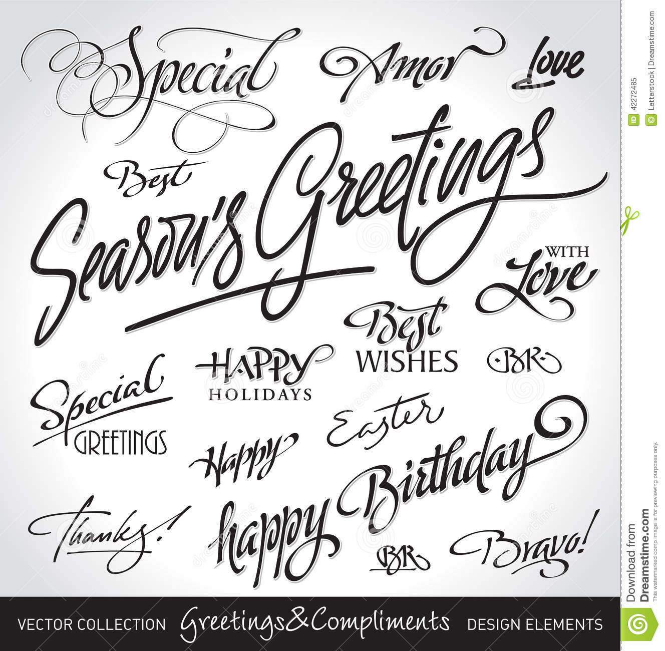 Hand lettered holiday greetings set vector stock vector hand lettered holiday greetings set vector m4hsunfo