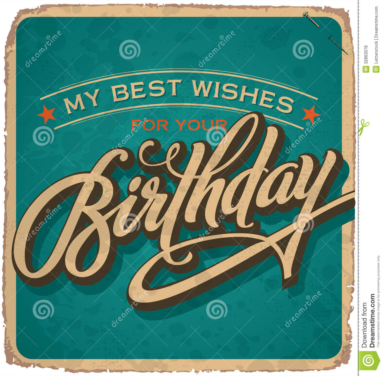 Hand-lettered Vintage Birthday Card (vector) Royalty Free Stock Photos ...