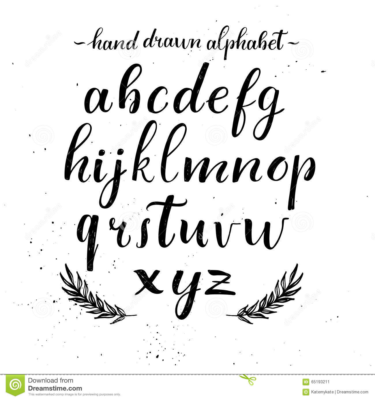 Hand Lettering Alphabet. Modern Calligraphy. Vector Stock Vector ...