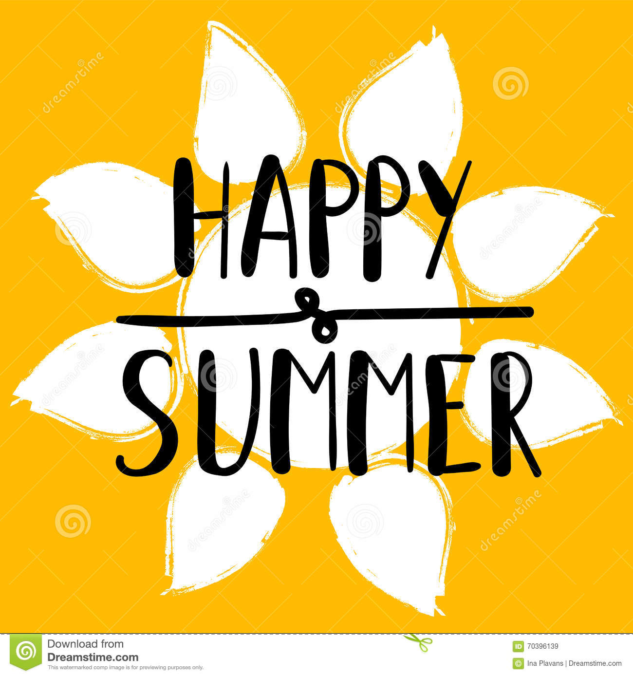 Hand Lettering Art Piece Happy Summer On The Background Of