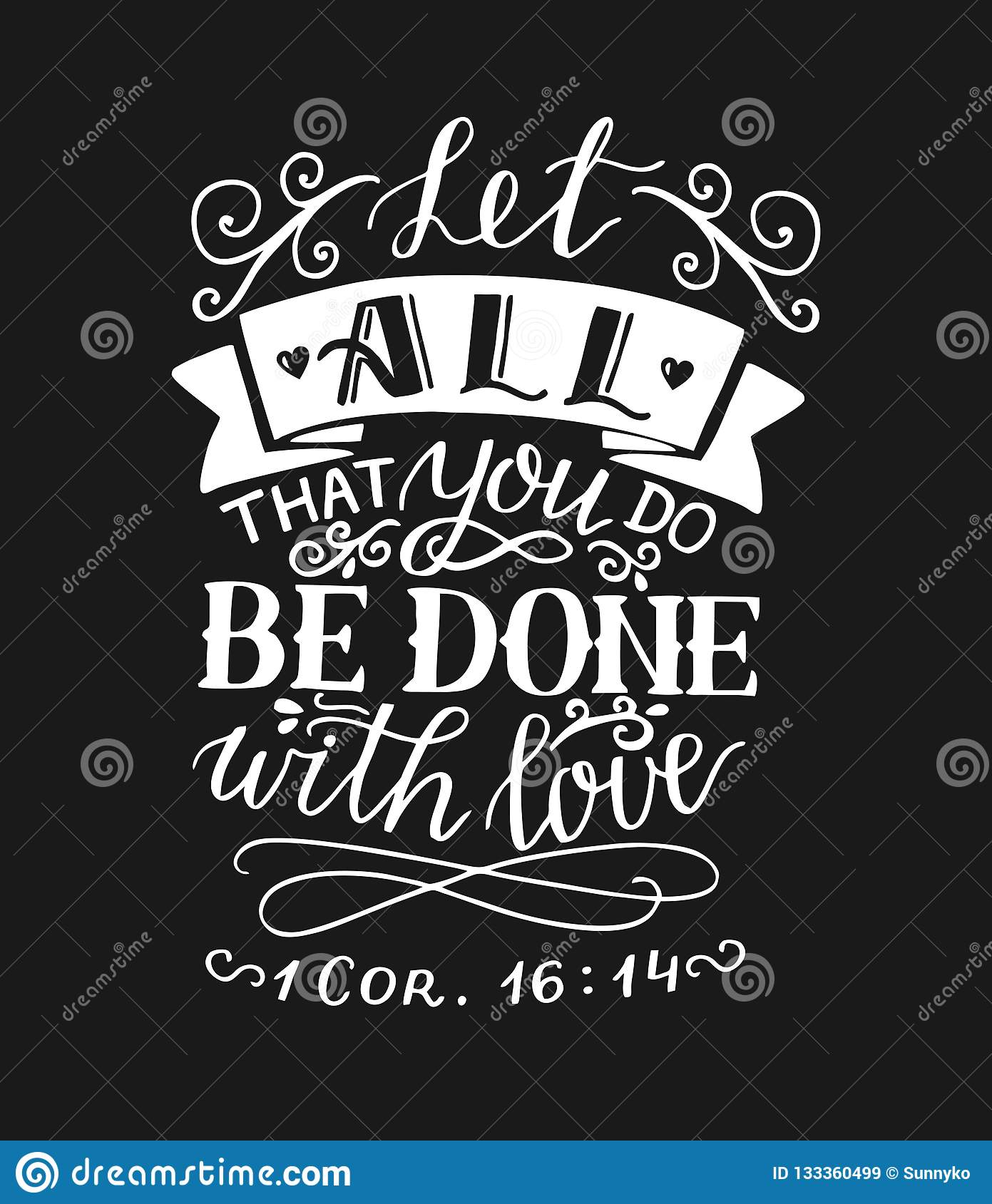 hand lettering and bible verse let all that you do be done