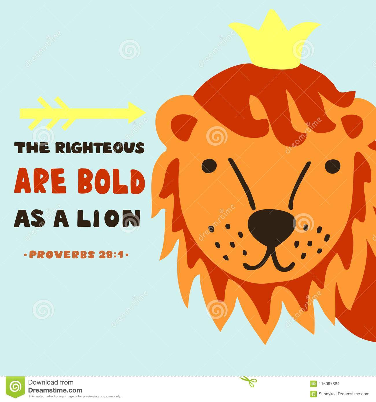 Hand Lettering With Bible Verse The Righteous Are Bold As A Lion Proverbs Stock Illustration Illustration Of Bold Jesus 116097884