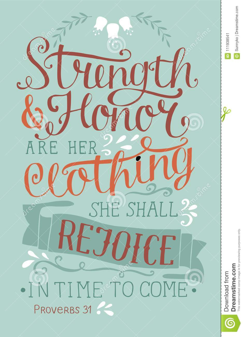 Hand Lettering With Bible Verse Strength And Honor Are Her Clothing