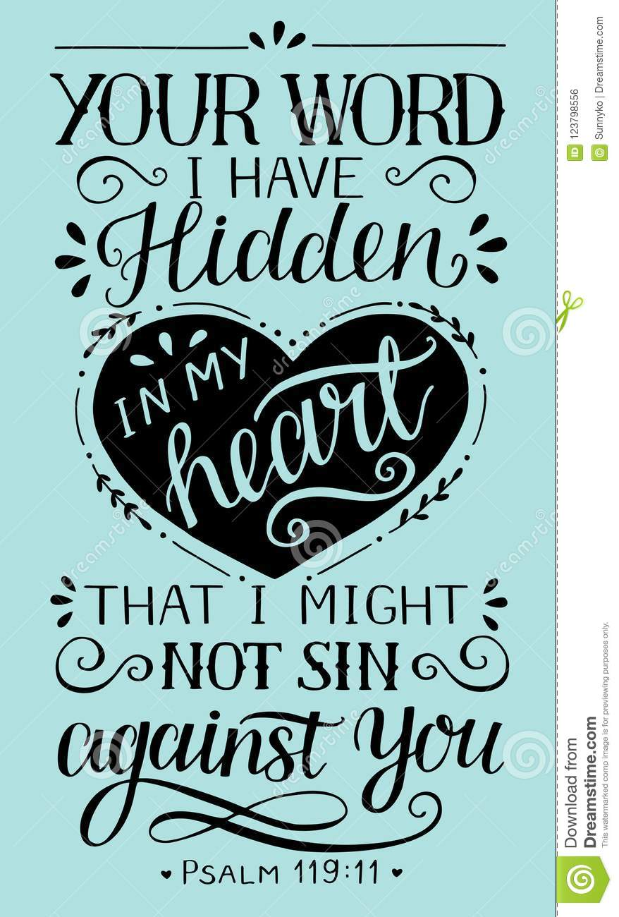 Download Hand Lettering With Bible Verse Your Word I Have Hidden In My Heart That