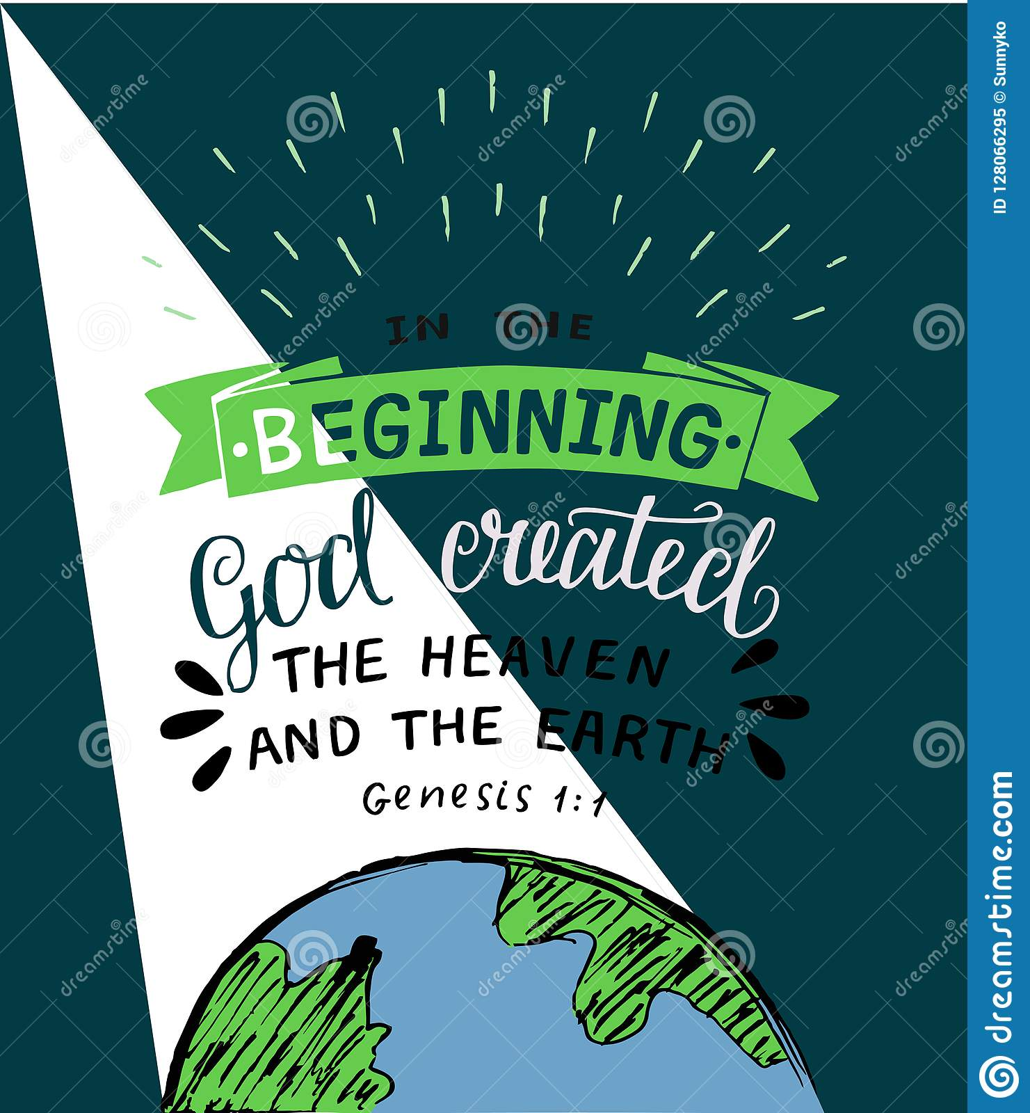 Hand Lettering With Bible Verses In The Beginning God Created The Heaven And Earth Genesis Stock Vector Illustration Of Print Bible 128066295