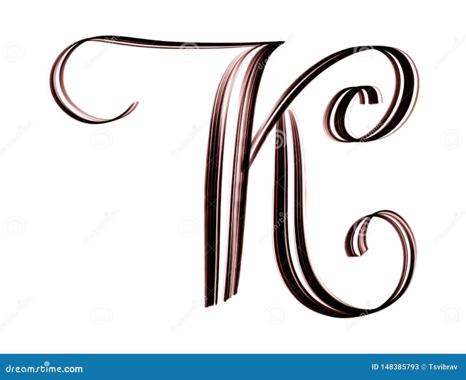 Hand Lettering Of Capital K Stock Illustration