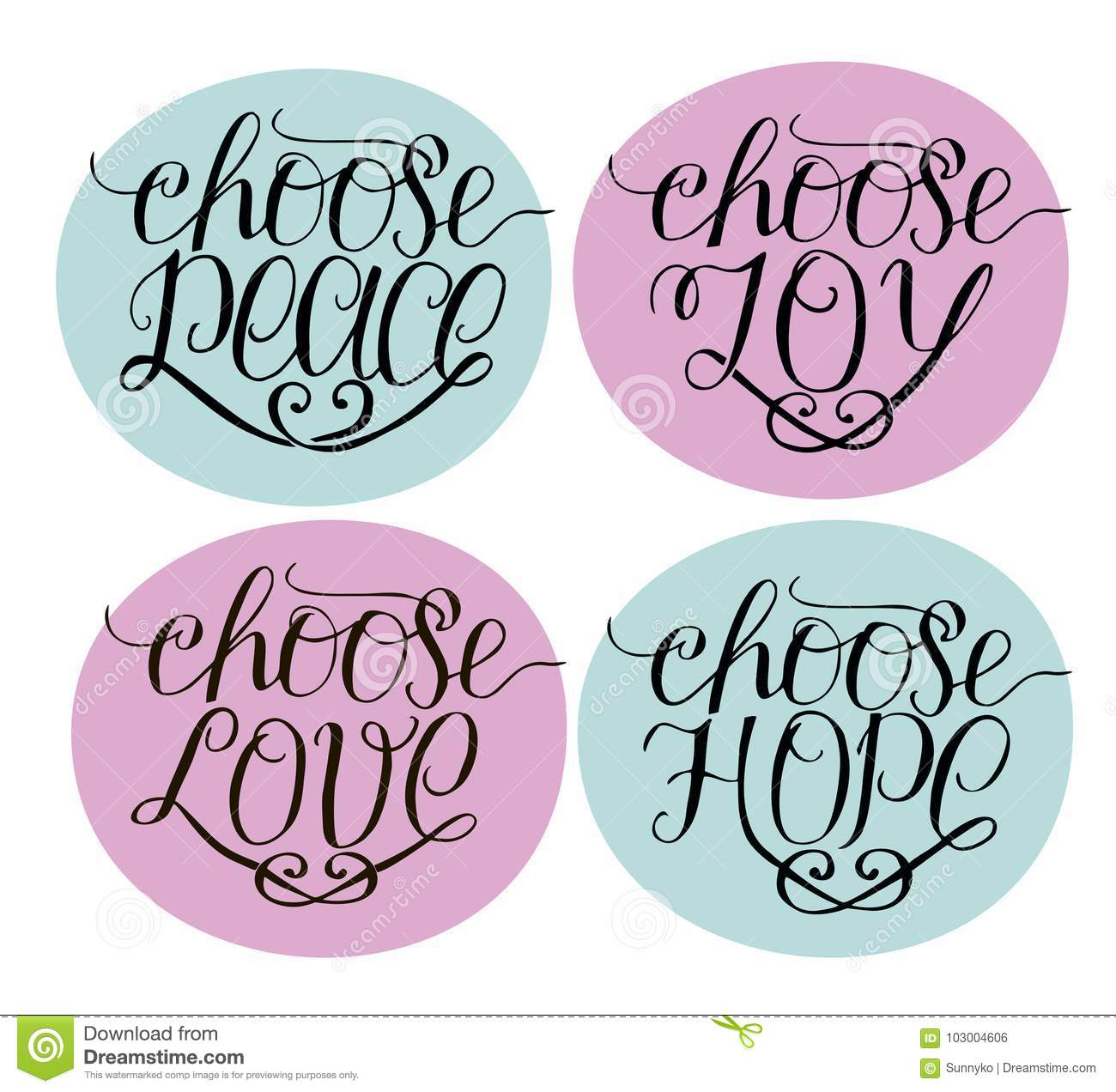 Hand Lettering Choose Joy, Peace, Love, Hope.