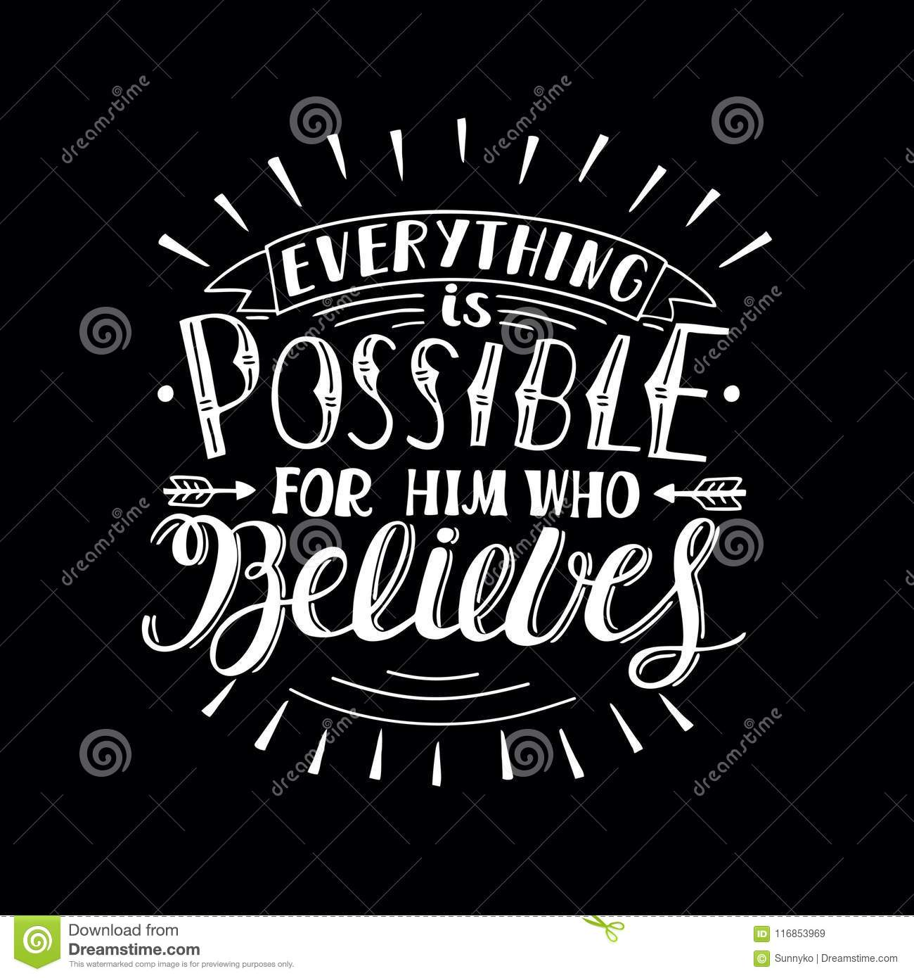 Christian Inspirational Quotes Black Background: Hand Lettering With Bible Verse Everything Is Possible For