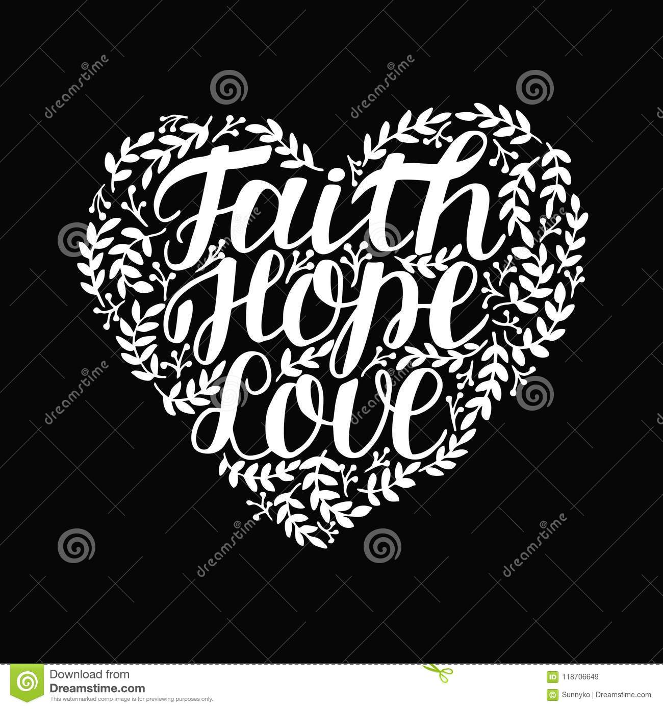 Hand Lettering With Bible Verse Faith Hope And Love In Shape Of