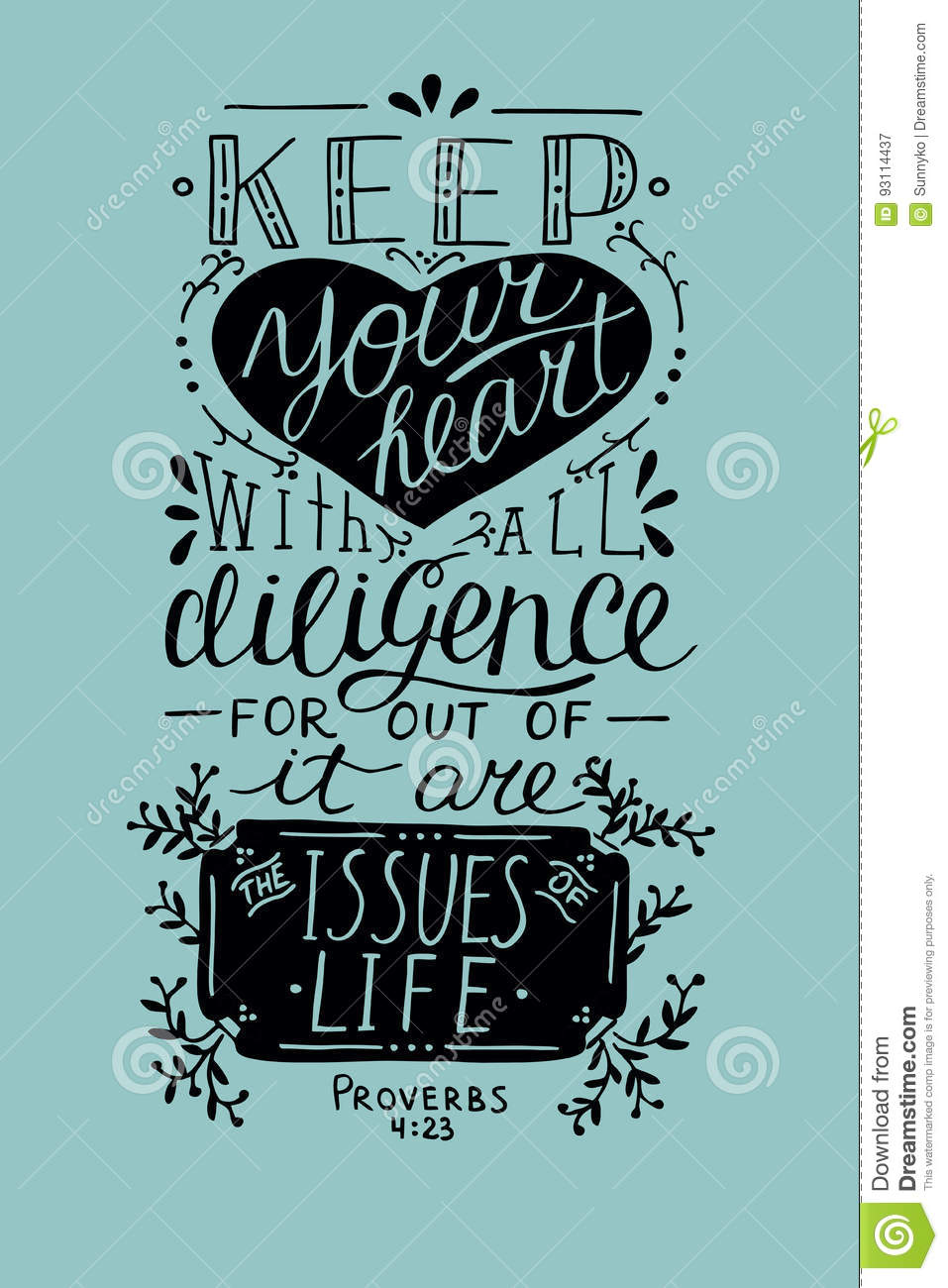 Hand Lettering Keep Your Heart From Proverbs Stock Vector