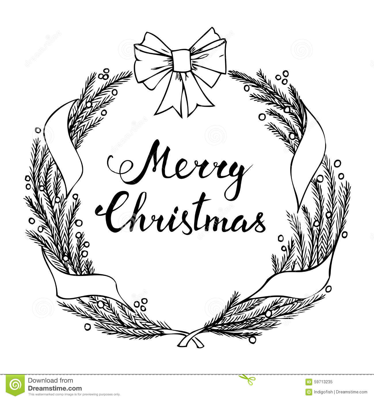 Hand Lettering Merry Christmas With Christmas Wreath Stock