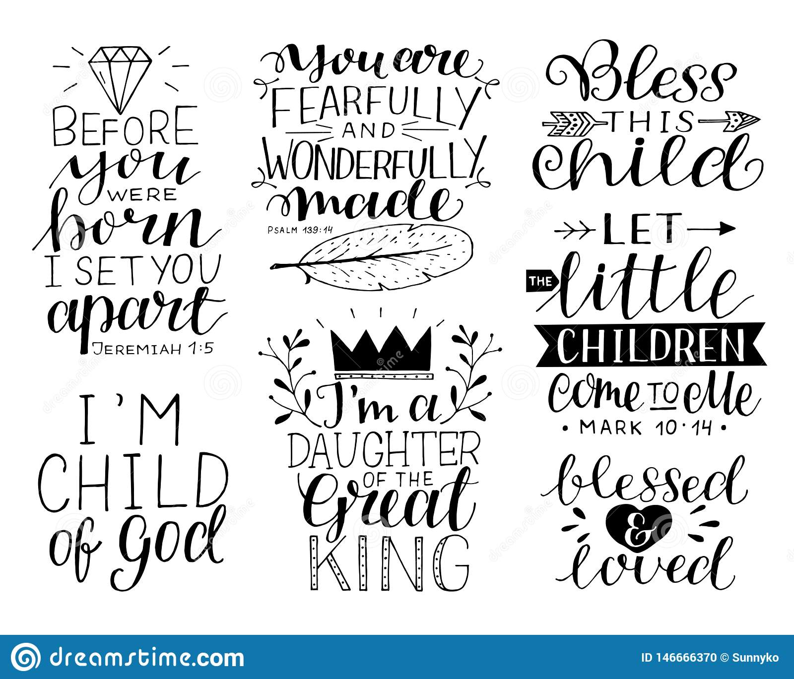 hand lettering motivational bible quotes for kids and baby stock