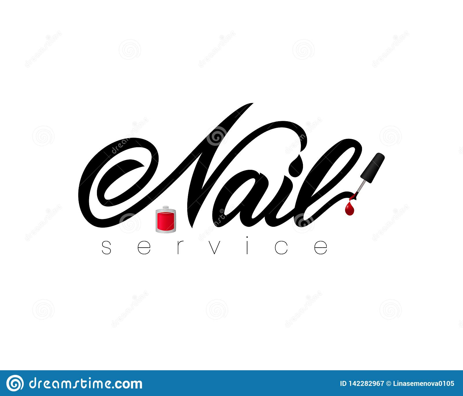 Hand lettering Nail service with nail polish. Isolated. Vector