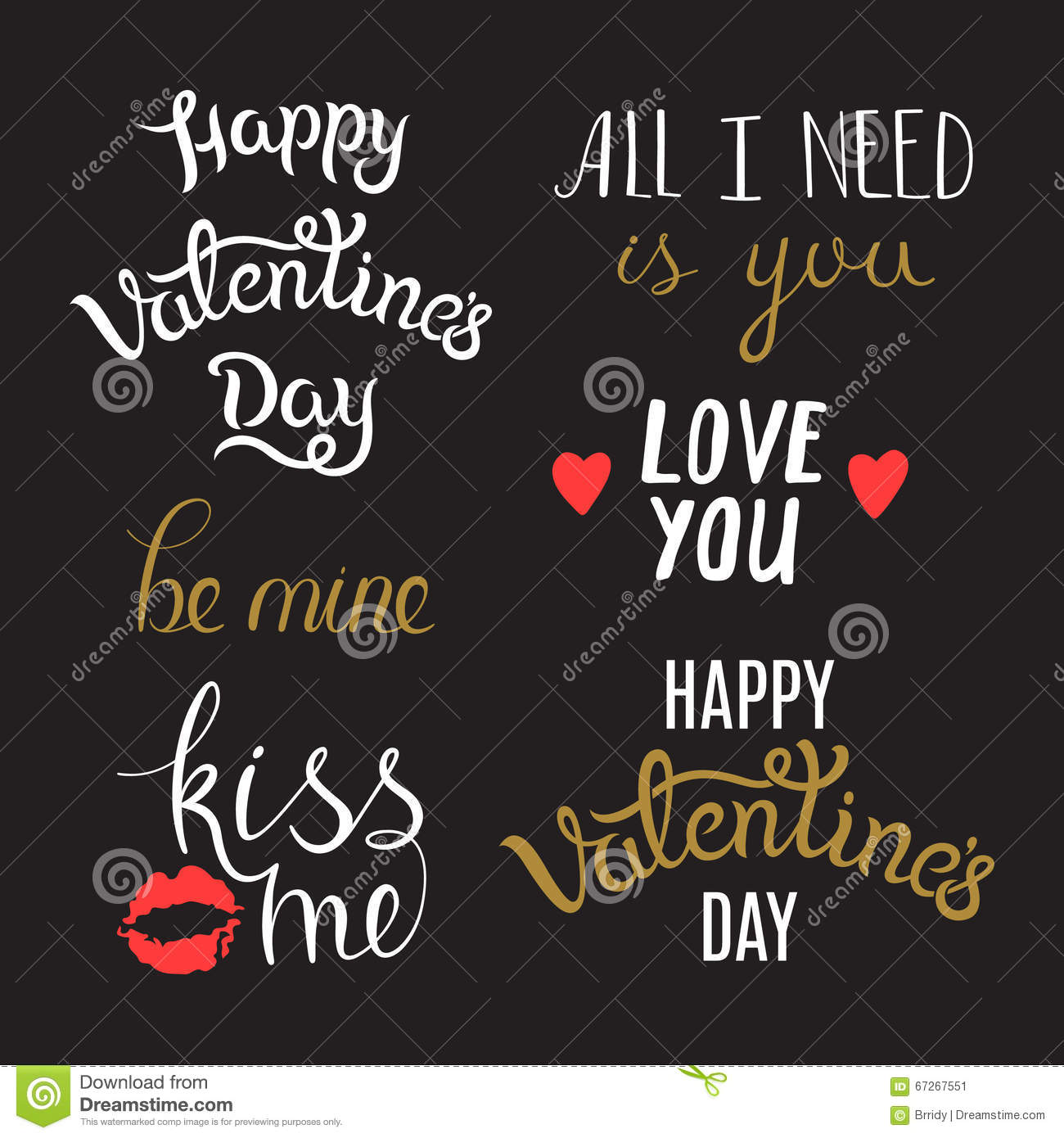 Hand Lettering Phrases On St Valentines Day Stock Vector