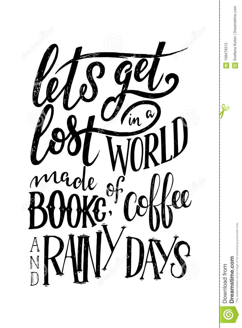 Hand Lettering Quote With Sketches For Coffee Shop Or Cafe ...