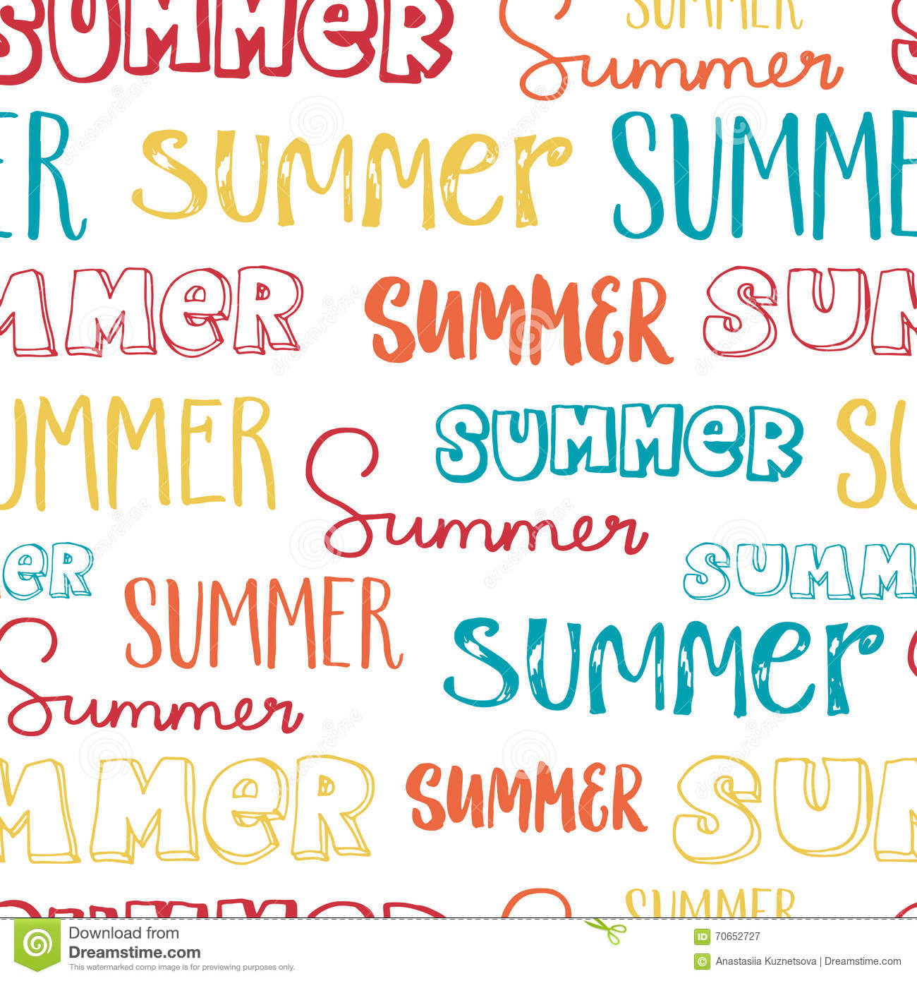 Hand Lettering Seamless Pattern Summer Stock Vector