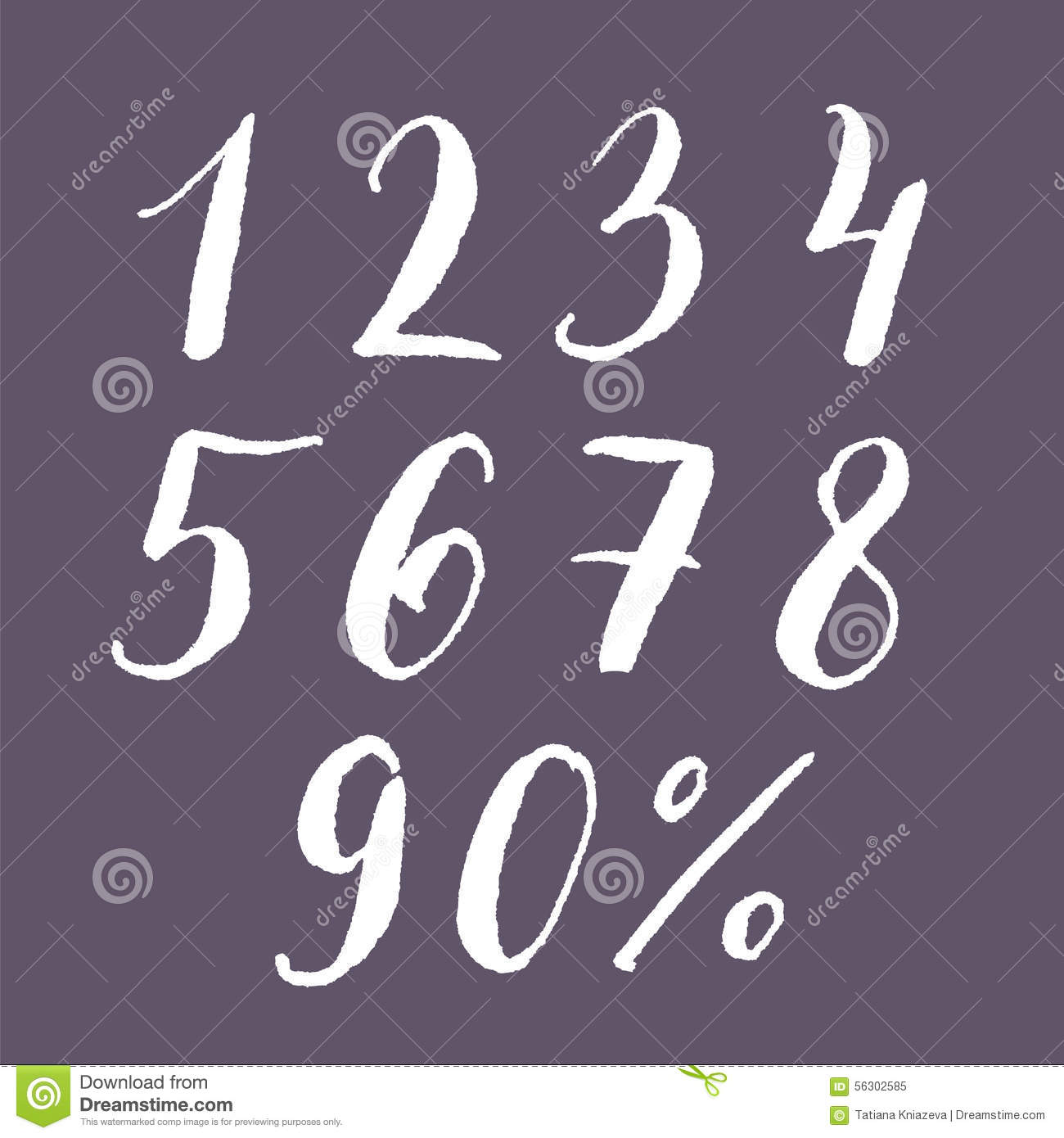 Hand-lettering Set Of Numbers. Stock Vector