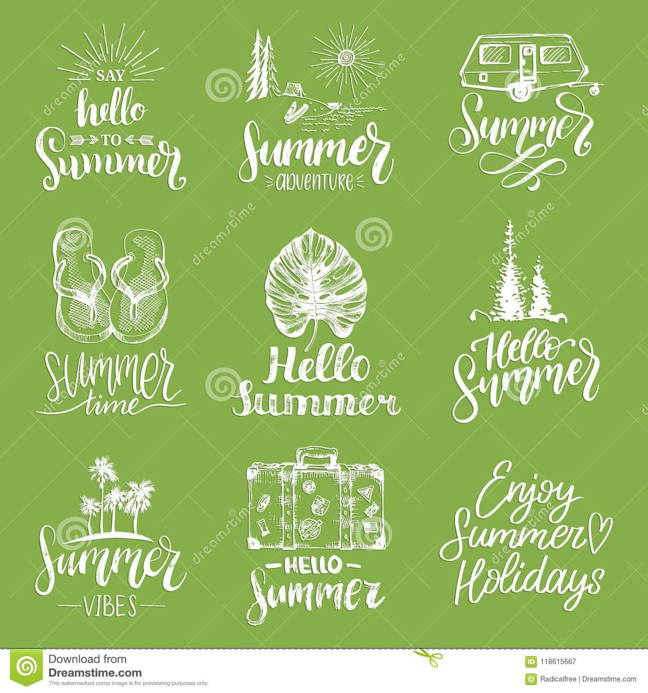 4c90df875fba0 Hand lettering with summer motivational phrases and sketches. Vector set of  calligraphy inspirational quotes collection. Travel icons.