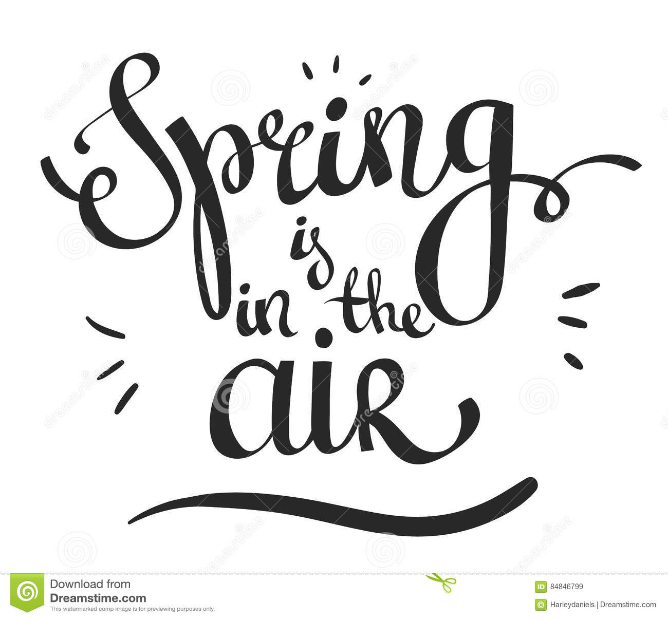 Hand Lettering Words Spring Is In The Air Stock