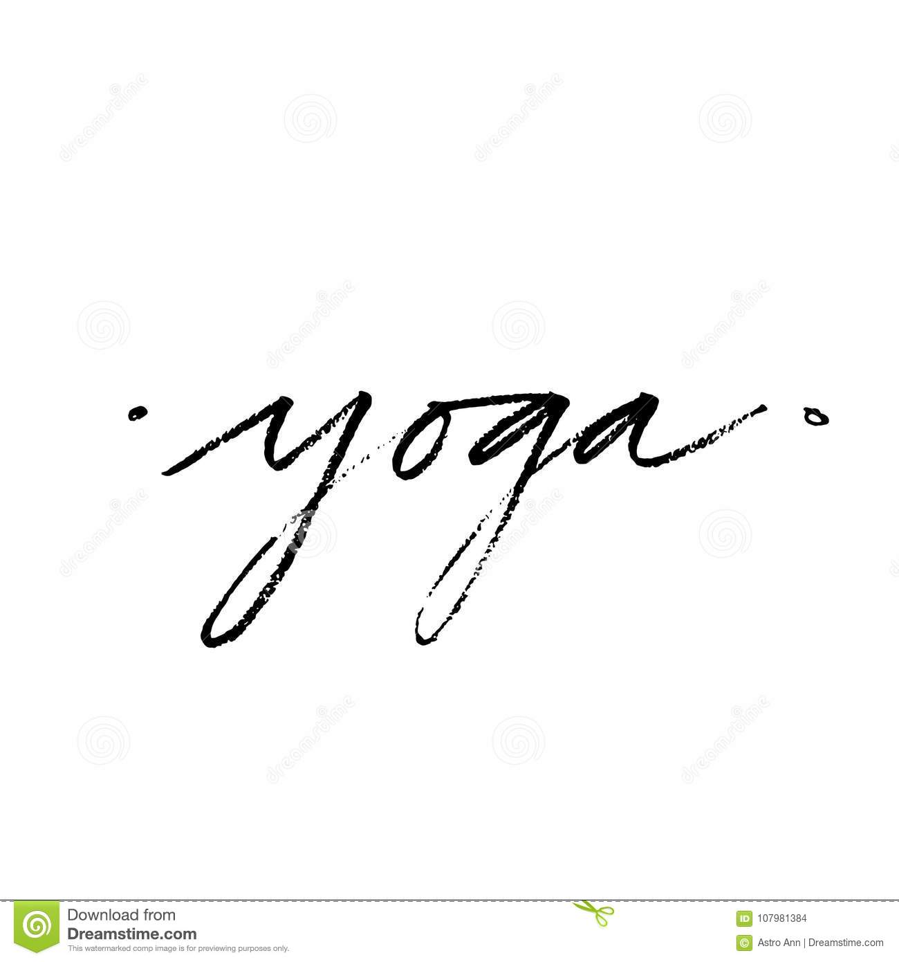 Hand Lettering Yoga Logo Letters Can Be Printed On Greeting Cards