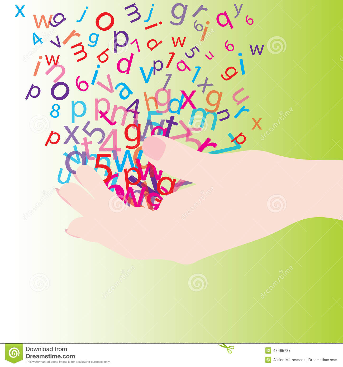 Hand with letters