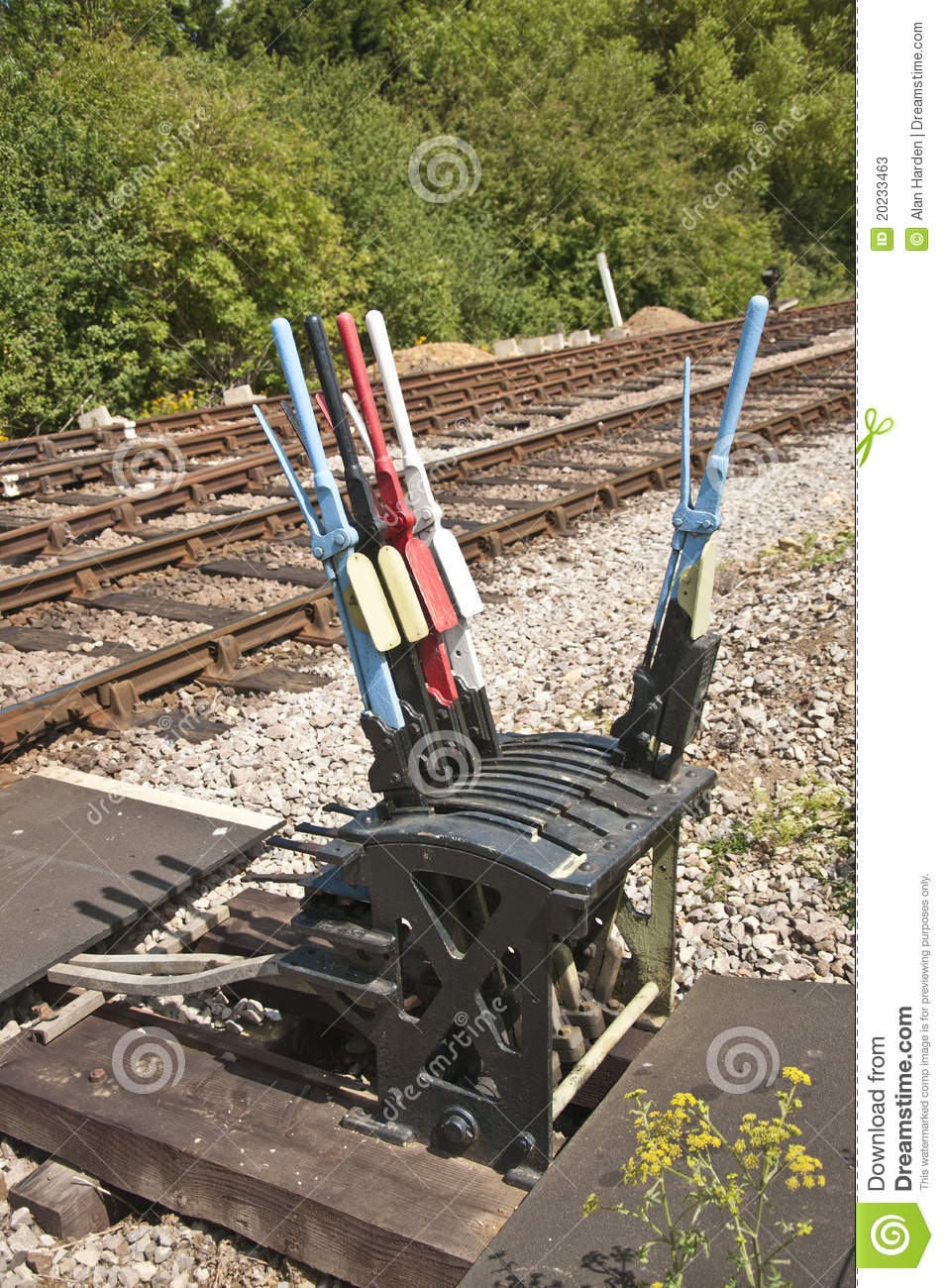 Lever Train Track : Hand levers for changing rail points stock image