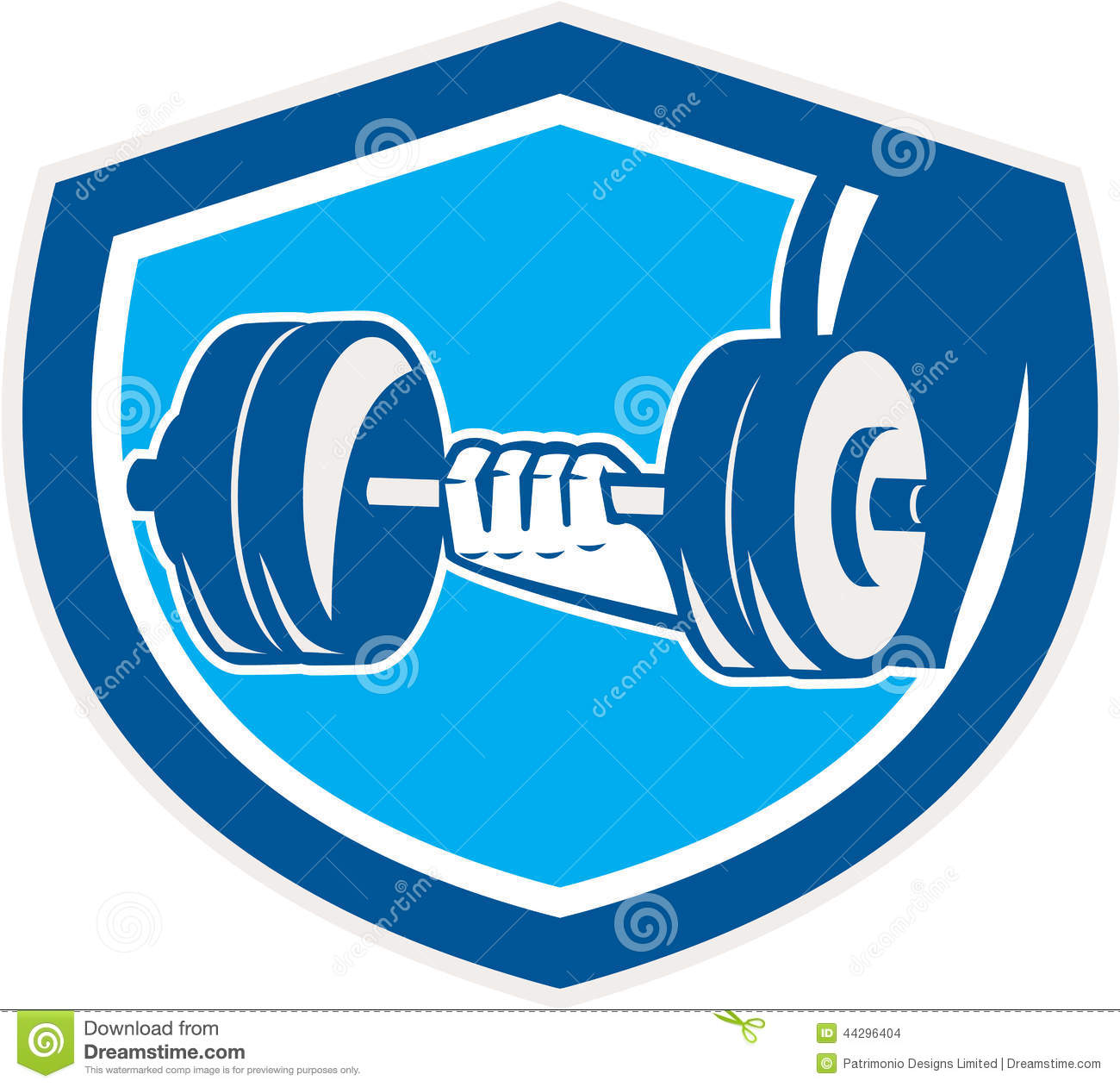 Hand Lifting Dumbbell Shield Retro Stock Vector - Illustration of