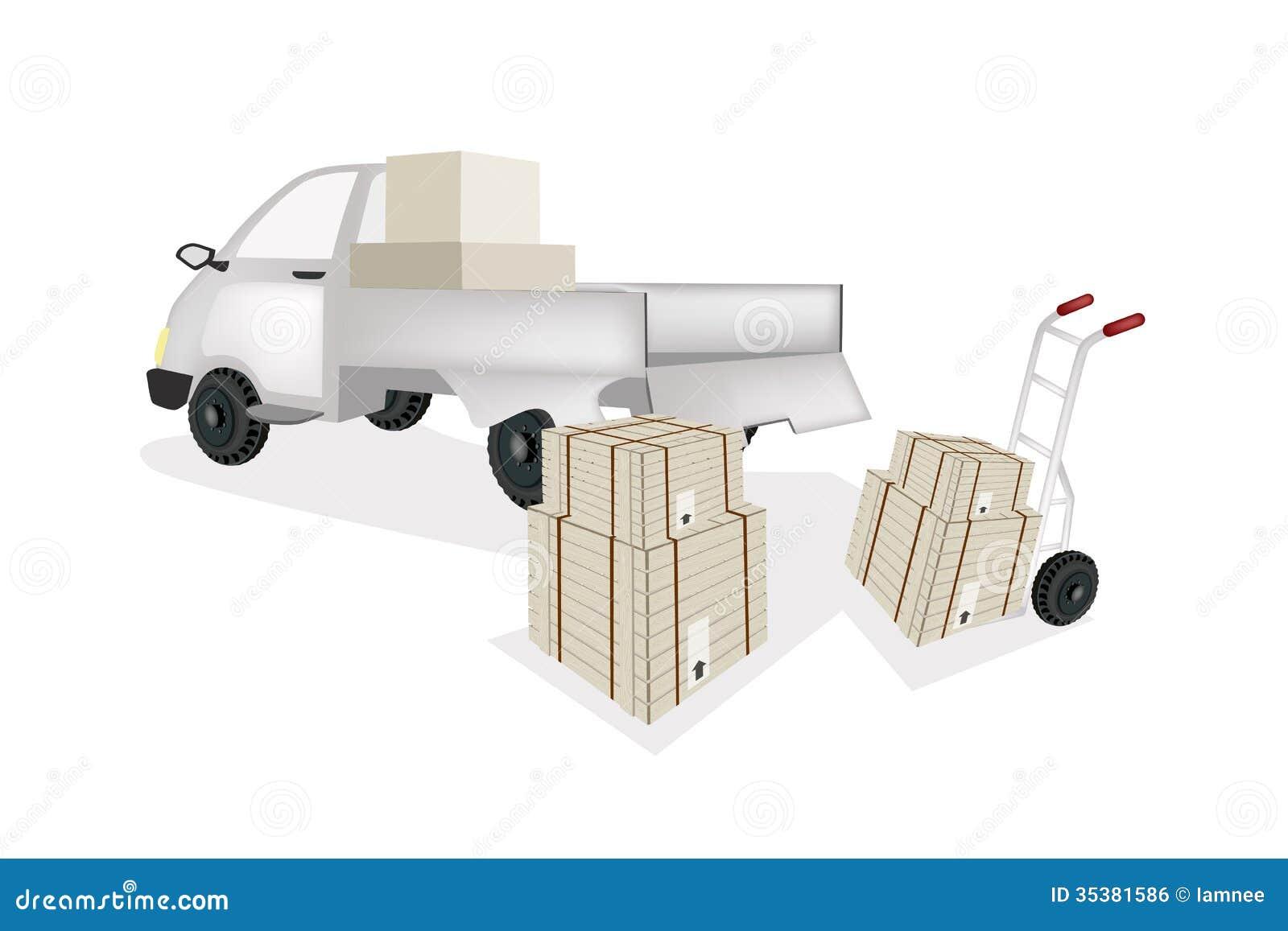 Hand-LKW-Laden-Versand-Kasten In Kleintransporter Vektor Abbildung ...