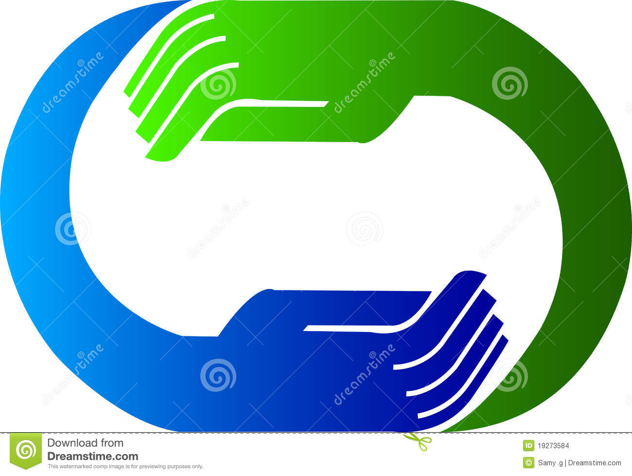 Illustration art of a hand logo with isolated background