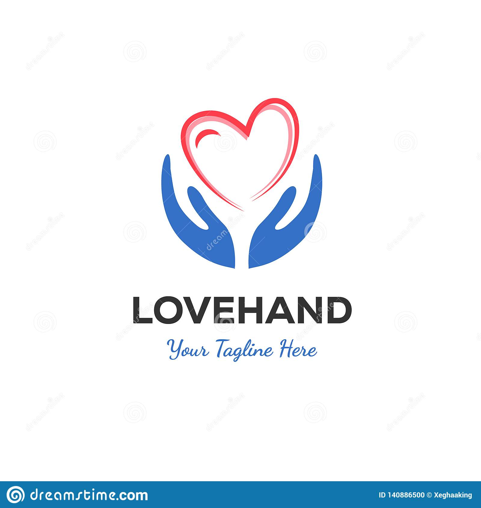 Hand and love logo designs