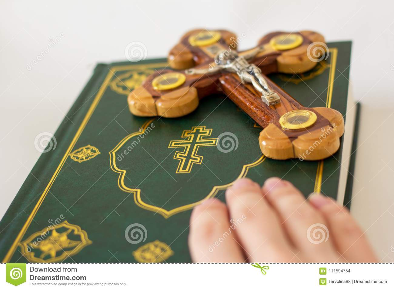 Holy Bible And Cross Depicting The Crucifixion Of Jesus