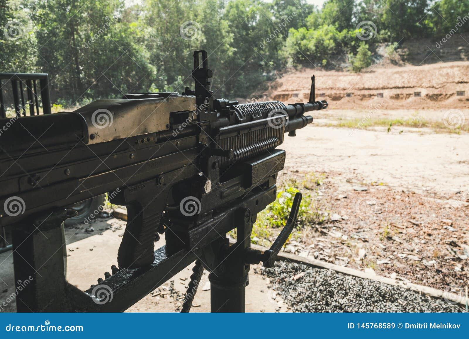 Hand Machine Gun M60 Machinegun - Vietnam Stock Image