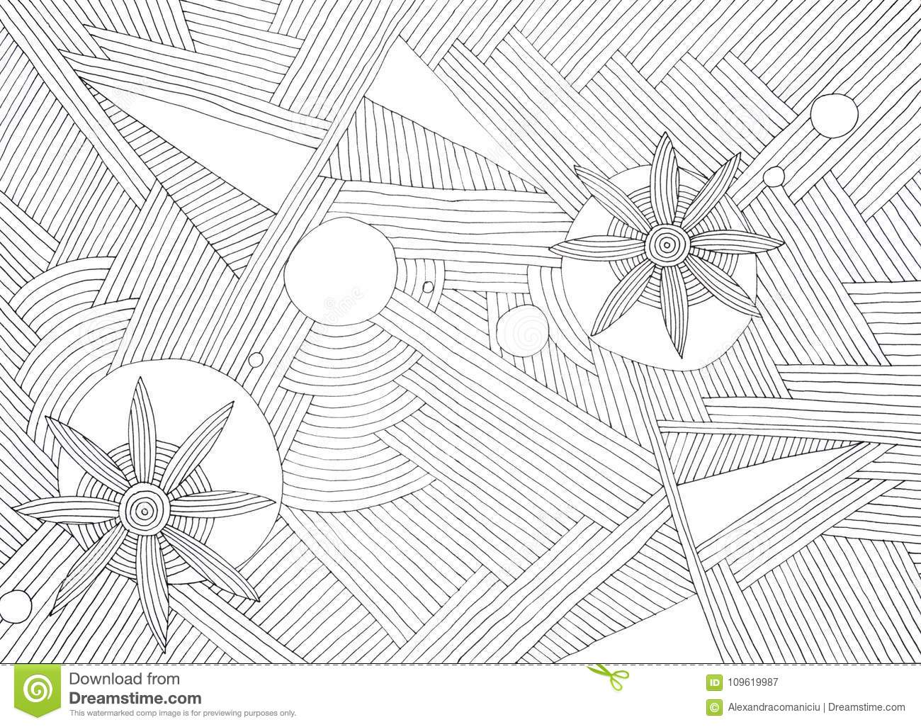 Hand Made Abstract Illustration Of Black Parallel Lines And Flower