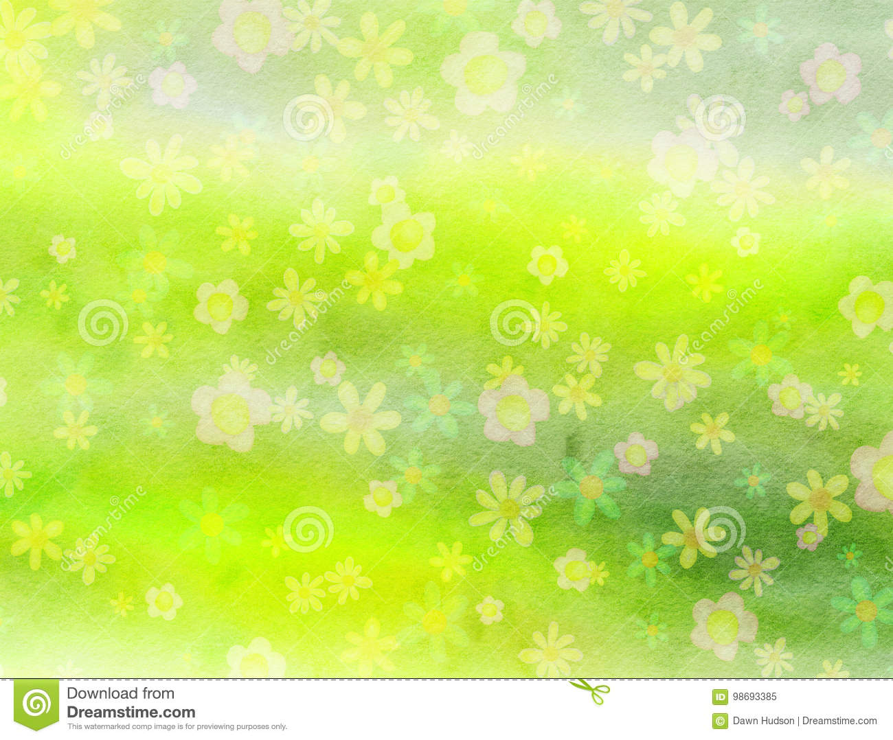 Watercolour Field of Flowers background Paper