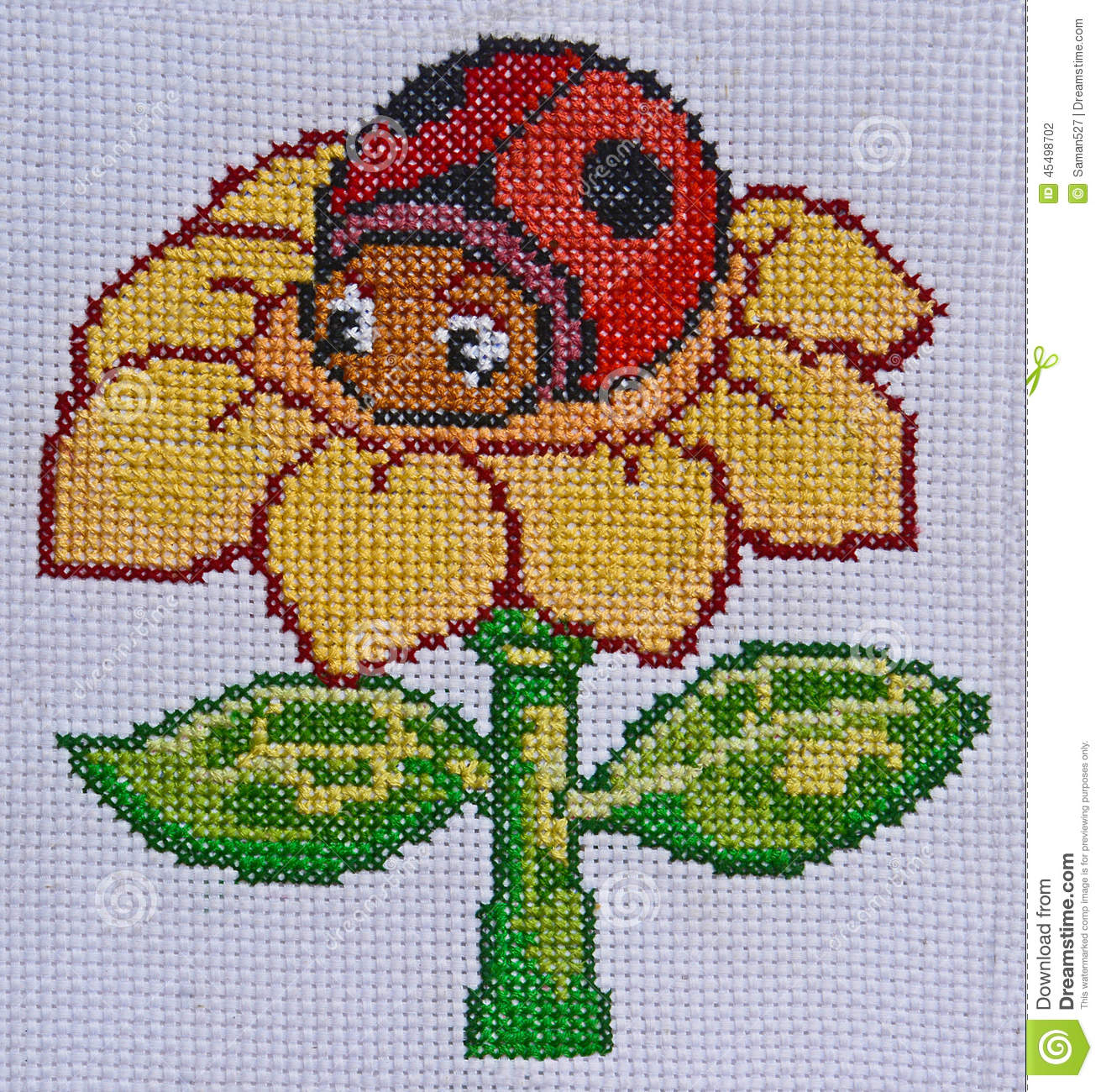 Hand Made Embroidery And Cross Stitch Flower And Ladybird Design