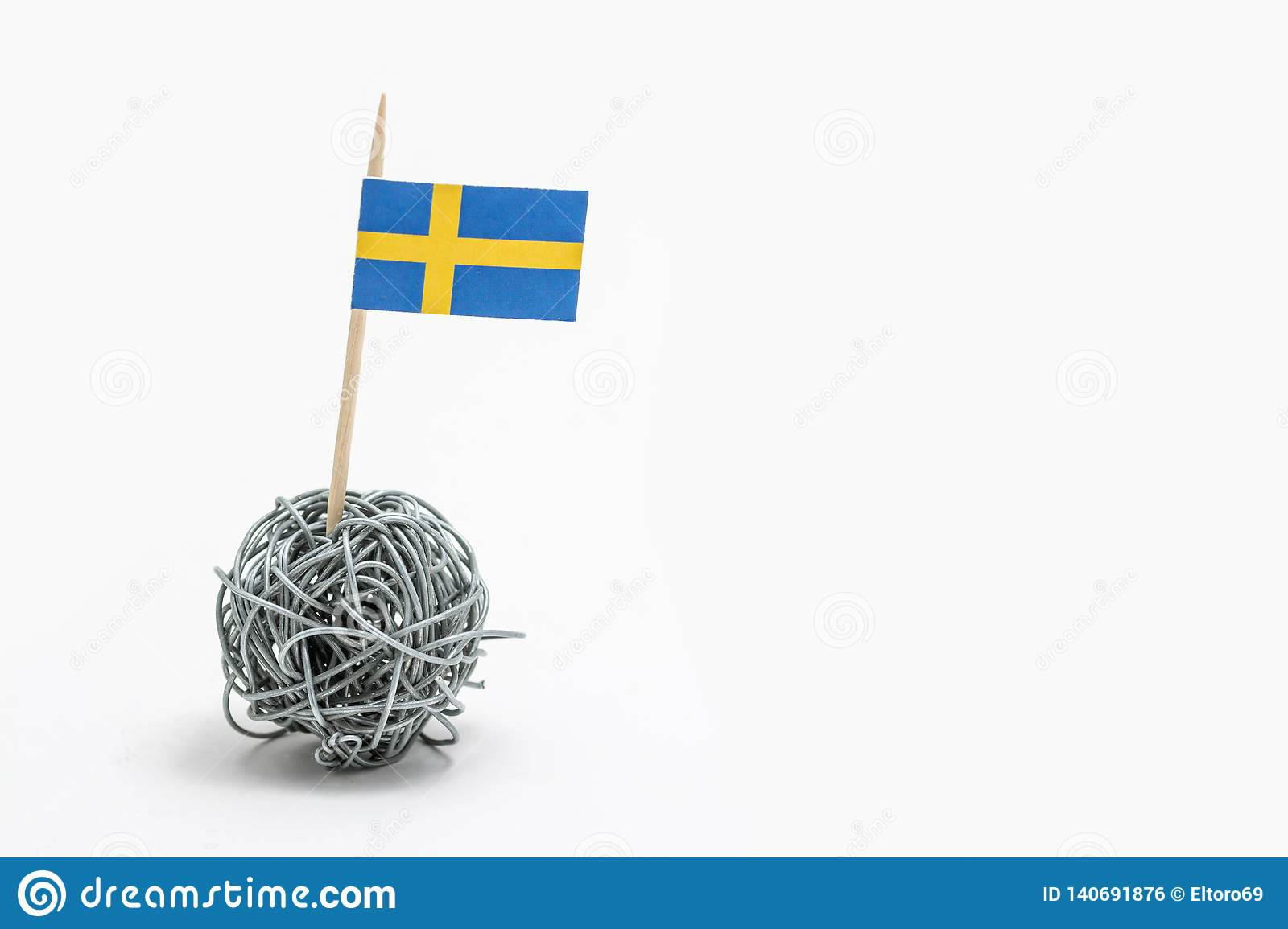 The Hand Made Flag Of The Sweden On Wire Ball Stock Photo - Image of