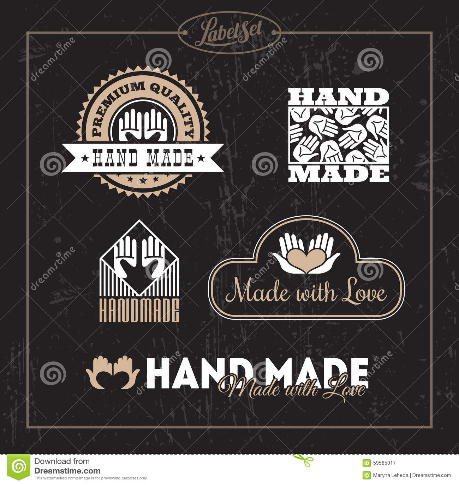hand made label set stock vector image 59585017. Black Bedroom Furniture Sets. Home Design Ideas
