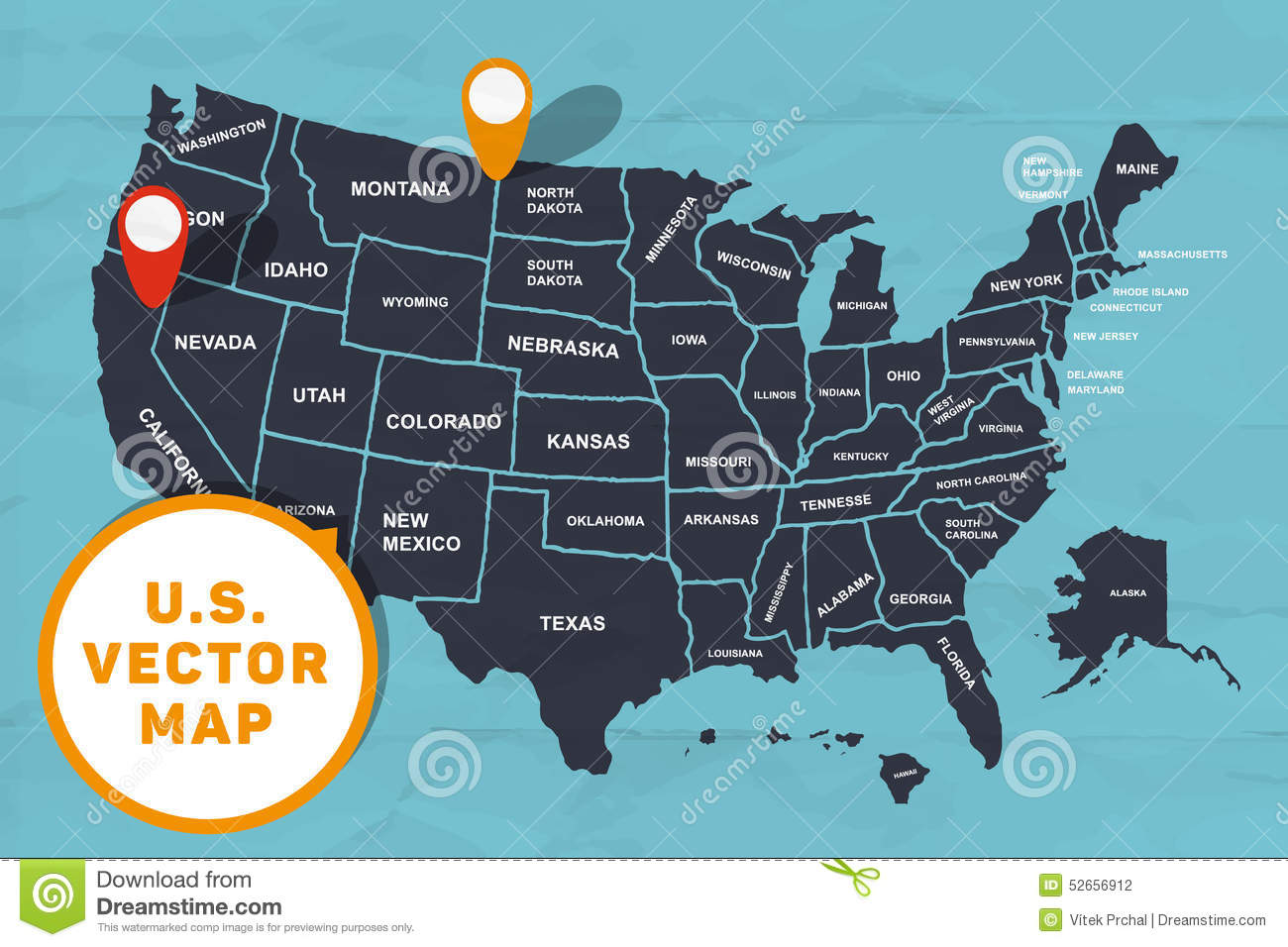 Hand made map of America stock vector Illustration of borders