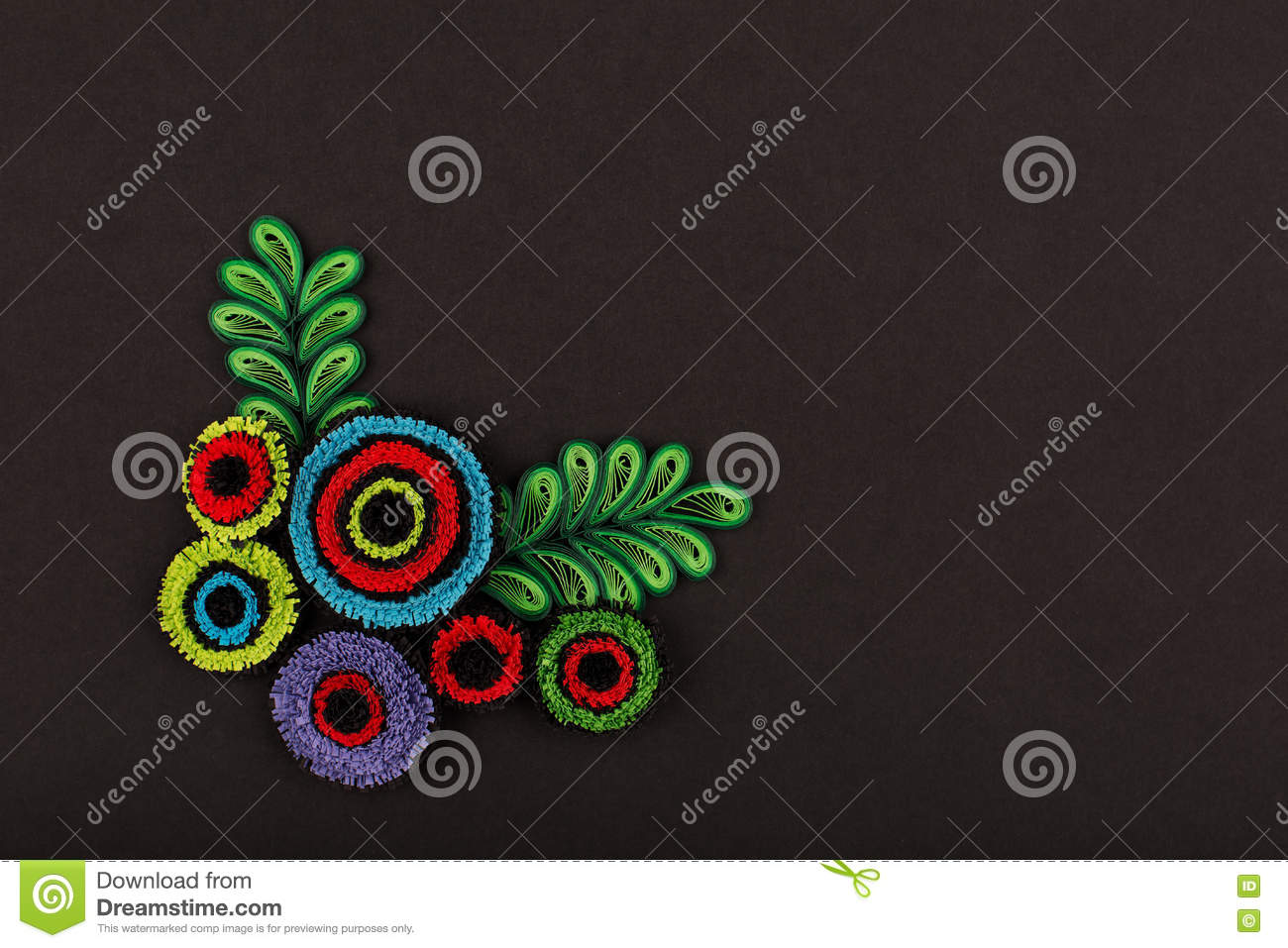 Hand Made Of Paper Quilling Technique Valentine S Day Stock Image