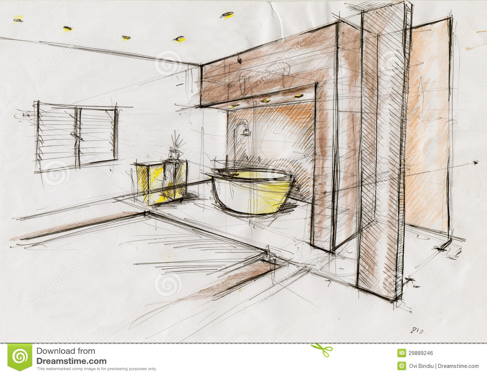Candice Olson Bedroom Designs Sketch Illustration For Interior Design Royalty Free Stock