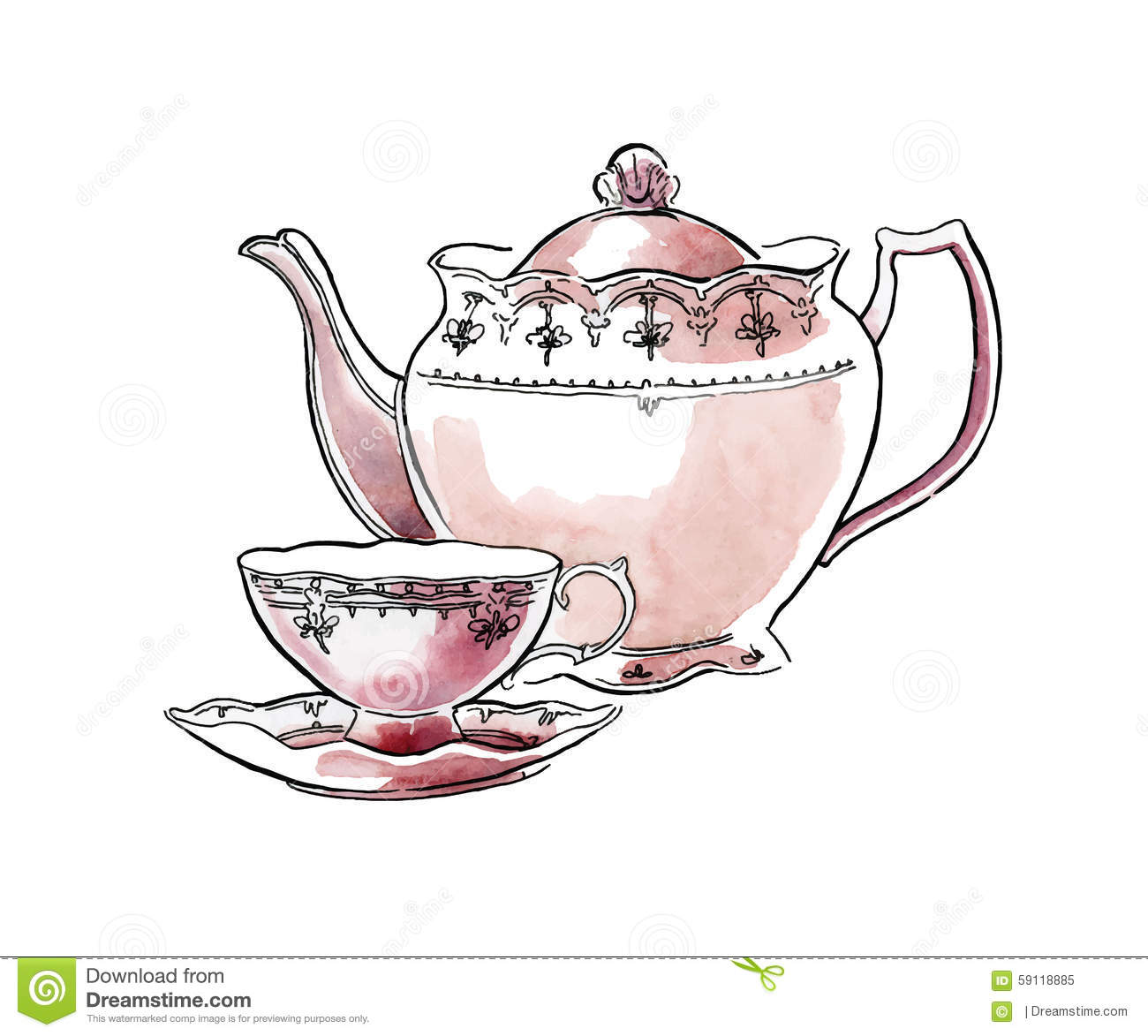 Hand Made Sketch Of Tea Sets Vector Illustration Stock