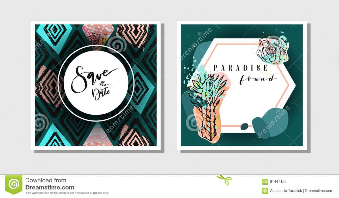 Hand Made Vector Abstract Creative Collage Freehand Textured Save