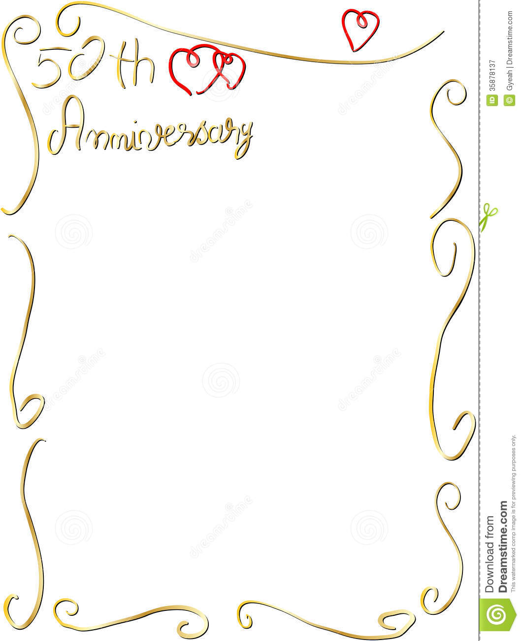 Hand Made Wedding Anniversary Border Invitation Stock