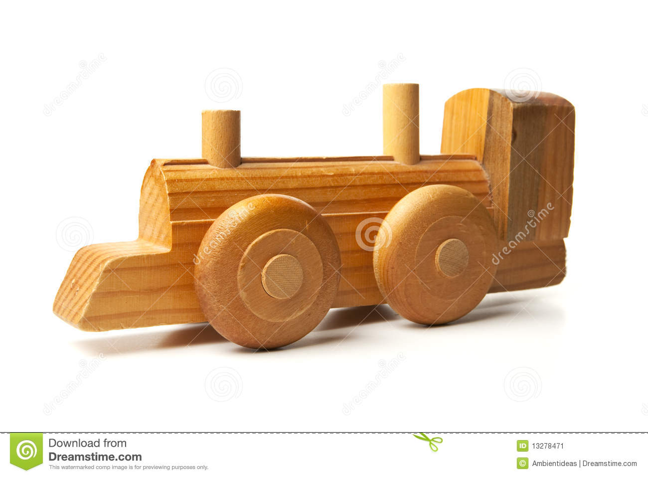Hand Made Wood Toy Train. Isolated on white background.